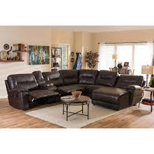 baxton studio mistral 6 piece contemporary brown faux leather upholstered right facing chase sectional sofa 28862 6955 hd the home depot