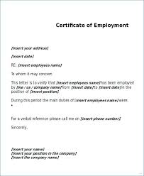 Format For Certification Letter Employment Certificate Template