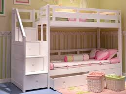 white bunk bed with stair case storage steps