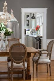 Chic Gray Dining Room With Farmhouse Dining Table This Deep Gray
