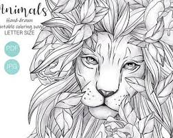 Young explorers of wildlife, coloring pictures. Lion Coloring Page Etsy