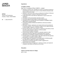 Compliance Officer Resume Sample Velvet Jobs