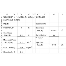 Use Excel Formulas For Orifice Venturi Meter And Ideal Gas