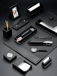black croco leather desk blotter and accessories set with chrome plated brass accents