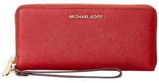 lyst michael michael kors jet set travel leather continental wallet in red