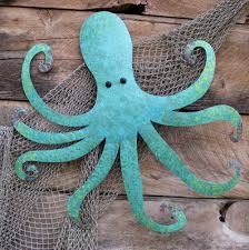 custom made large metal octopus wall sculpture ocean wall decor teal aqua blue 30 x 30