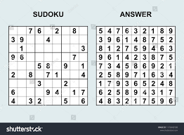 Sudoku Number Combinations Chart Vector Sudoku With Answer 172 Puzzle Game With Numbers