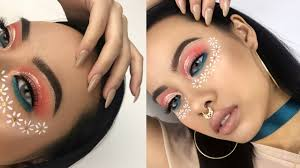 colorful festival flower makeup tutorial 2017 jvongphoumy