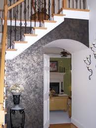 Small Picture Black Metallic Accent Wall in the Foyer