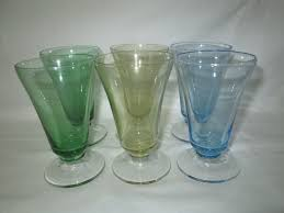 vintage set of 6 matching parfait cups green yellow blue glass dessert glasses