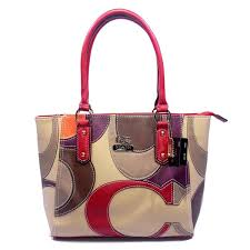Coach Big Logo Medium Red Ivory Satchels DXW Outlet Clearance Sale