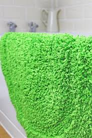 restmor neon lime green gy rug chenille oval indoor rug bath mat 50x80cm