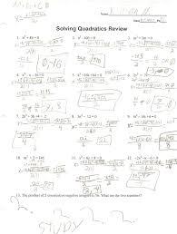 solving quadratics worksheet jannatulduniya com