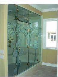modern decorative bathroom sliding glass shower doors plus neutral painted wall also gold chrome handle door