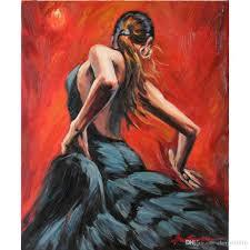 2018 modern figure oil paintings flamenco dancer in black dress handmade canvas art for bedroom high quality from cherry02016 101 51 dhgate com