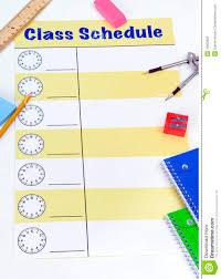 Class Schedule Blank Stock Image Image Of School Ruler