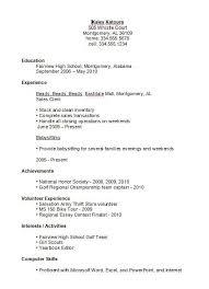 High School Student Job Resume Letter Example