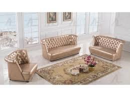 3pcs rose gold faux leather sofa set