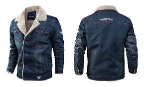 men s jacket casual winter plus velvet thick loose lapel denim denim dark blue l