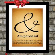 ampersand sign print typography unique custom wall art home rus