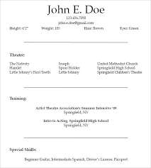 Actors Resume Template Word Acting Resume Template For Free Beginner