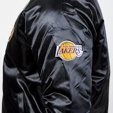 mitchell ness los angeles lakers jacket black nba satin jacket tonal