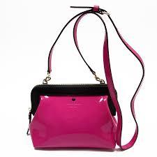 brandvalue take kate spade kate spade slant shoulder bag pink x black x gold patent leather x calf lady s t14507 rakuten global market