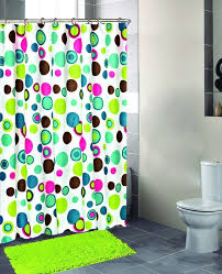 purple and lime green shower curtain