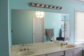 frameless bathroom vanity mirror. Frameless Bathroom Wall Mirrors With Double Sink Vanity Near Small Window In Blue Painted Mirror E