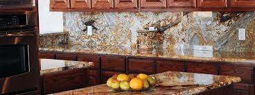 magma gold with full height granite backsplash