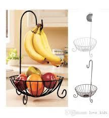 novelty kitchen metal fruit basket with detachable banana hanger fruit storage holders racks iron fruit plate european style snack rack kitchen metal