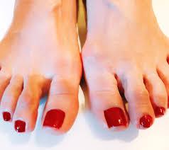 大人な赤のワンカラーネイルフットケア インフォメーション Nails