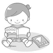 絵本を読む女の子モノクロ 子供と動物のイラスト屋さん わたなべふみ