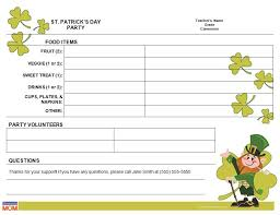 food sign up sheet st patricks day class party sign up sheet homeroom mom