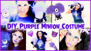 diy evil purple minion costume makeup hair tutorial you