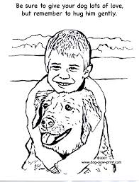 Small Picture Coloring Page of Dog Being Hugged Dog Paw Print