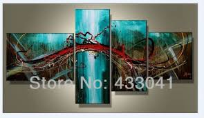 >hand painted 4 piece sets modern abstract large wall art blue green  hand painted 4 piece sets modern abstract large wall art blue green red oil painting on