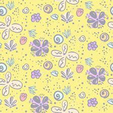Leuk Geel Naïef Krabbel Bloemen Naadloos Patroon Mooie Eenvoudige