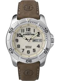 timex men s expedition traditional watch brown leather strap com