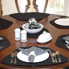 interior com set of black quilted wedge shaped placemats for round tables placemats for round tables