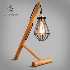 Vintage Industrial Simple Wood Lamp Base Wooden Frame Table Lamp For