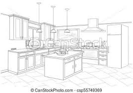 Kitchen Design Sketch Fascinating Interior Sketch Of Kitchen Room Outline Blueprint Design Of Kitchen
