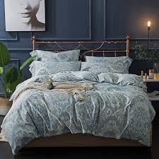 luxury satin blue bed sheets elegant duvet cover 100 egyptian cotton bedding sets queen king
