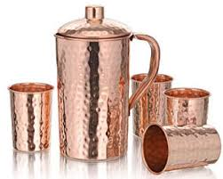 copperking hammered pure copper jug 1250ml with 4 glasses water drinking