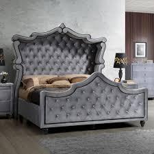 Meridian Furniture Hudson Grey Velvet King Canopy Bed w/ Ornate Crystal Tufted  Headboard & Footboard