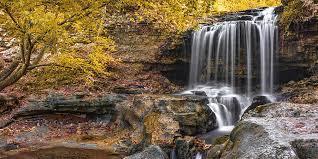 Tanyard Creek Falls Panorama - Bella Vista in Autumn Photograph by Gregory  Ballos