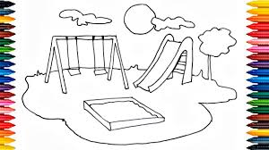 How To Draw Playground For Kids Coloring Pages Drawing Learn