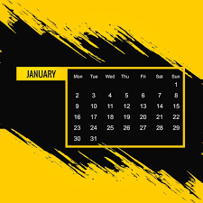 Black And Yellow Calendar 2017 Vector Free Download