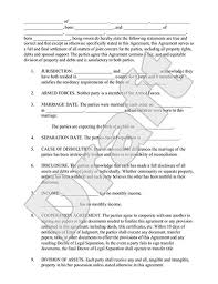 legal marriage separation agreement template with sample child support agreement letter