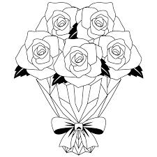商用フリー無料イラストモノクロのバラの花束rose15 商用okフリー